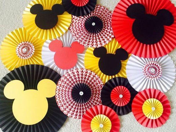 Banderines De Mickey Mouse Cumpleaños Rosetas Guinaldas