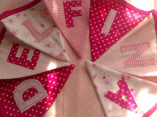 ::banderines de tela:: con letras aplicads