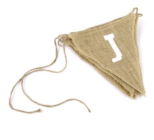 banderines rústicos de arpillera con diseño de just married,