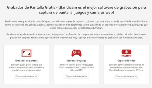 bandicam 2019 v.4.3.4 - grabador de pantalla para tus juegos