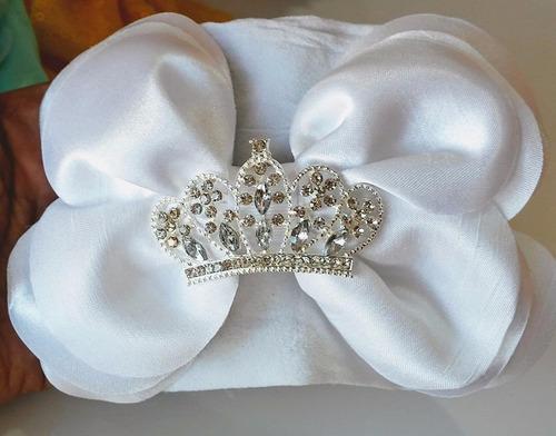 bandita bautizo princesa tiara moño blanco bebé niña diadema