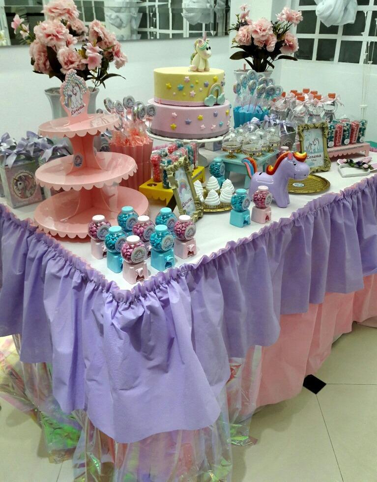 Bando Mesa Festa Infantil Decoração Cor Lilas Com Rosa R 2400 Em