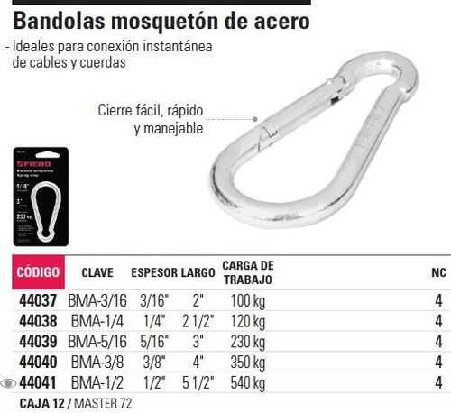bandola acero 1/2' mosqueton fiero 44041