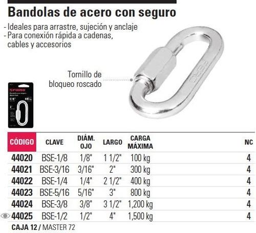 bandola acero 1/4' seguro fiero 44022