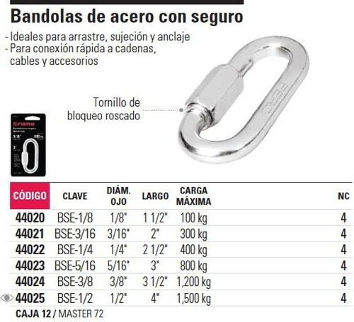 bandola acero 3/16' seguro fiero 44021
