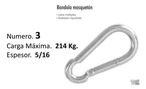 bandola mosqueton # 3 acero 5/16 carga hata 214 kg  m8218