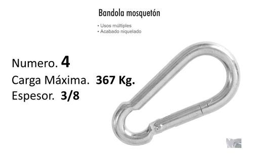bandola mosqueton # 4 acero 3/8'  carga 367 kg $ mayoreo