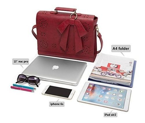 bandolera ecosusi de cuero rojo para laptop de 14 in.