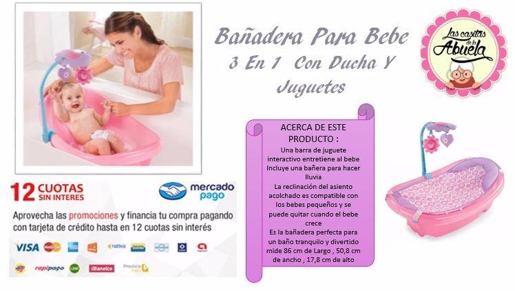 Bañera Bañadera Para Bebe 3 En 1 Summer Con Ducha Y Juguetes ... a17ba6177b01