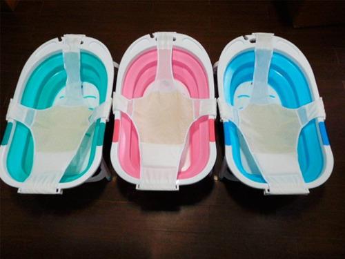 bañera bebe plegable con red reductora adaptadora 3 colores