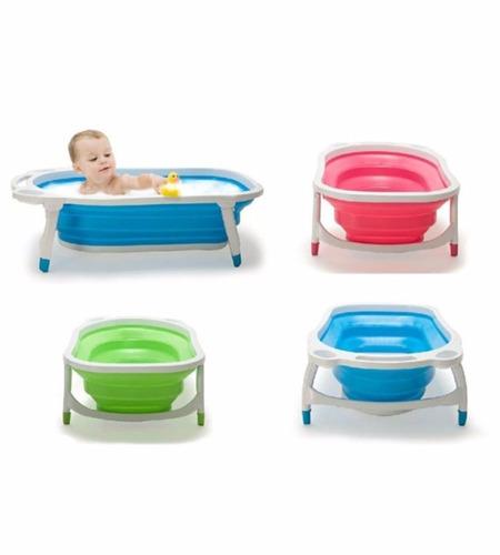 bañera flexible plegable infanti color verde y celeste