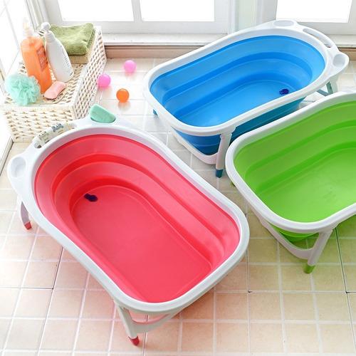 bañera para bebe plegable mega baby azul rosa y verde