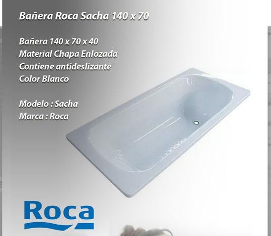 Bañera Roca Blanco Sacha Chapa Enlozada 140x70 Antidesliza