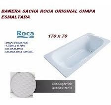 bañera roca chapa enlozada 170x70 sacha blanco antideslizant