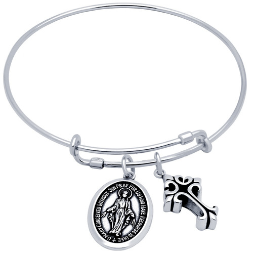 bangle with cross and oval mary charms
