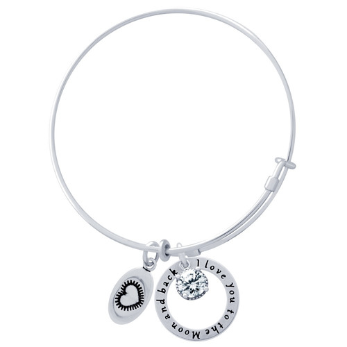 bangle with heart,  i love you , and 6.5mm cz charms