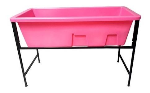 banheira petshop banho e tosa rosa com degrau tam.pequena