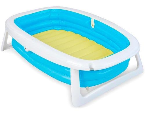 banheira splash dobrável flexível bebe azul dican loi