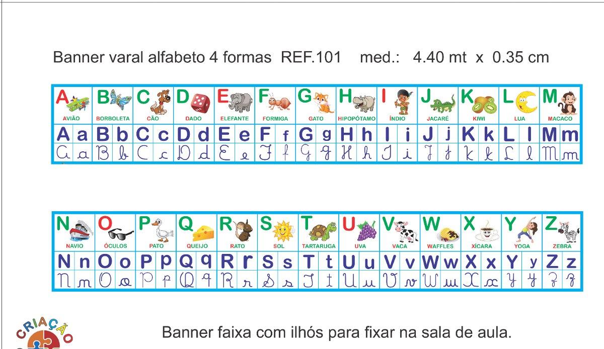 Banner Alfabeto 4 Letras Sala De Aula Medindo 4 40 M X 0 35m R