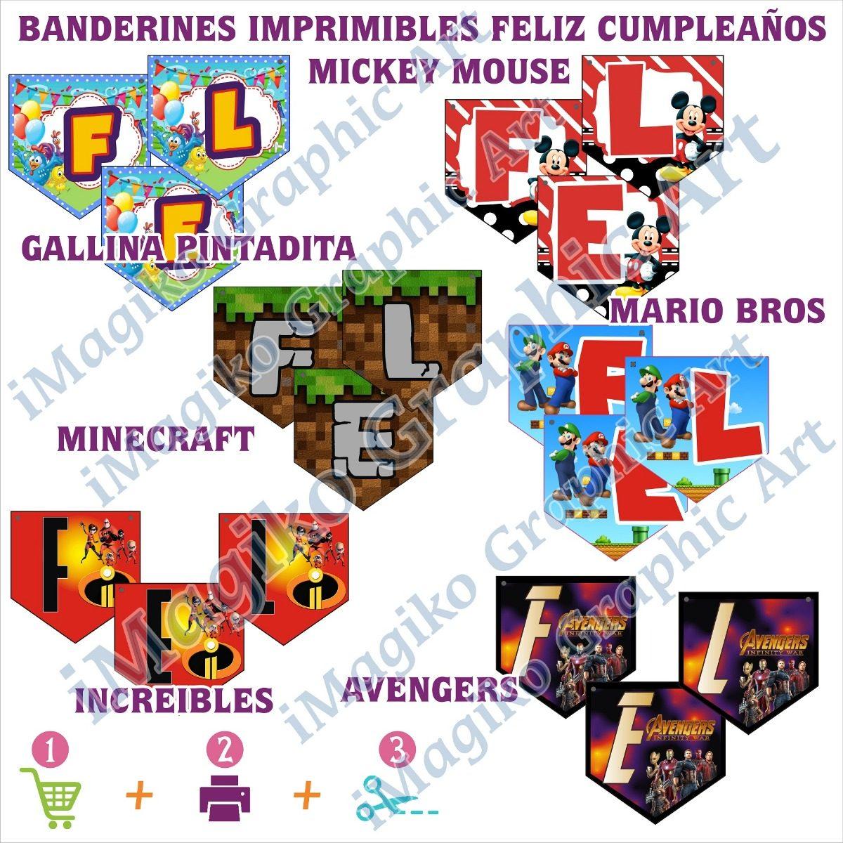 Banner De Banderines Imprimible Feliz Cumpleanos Personajes