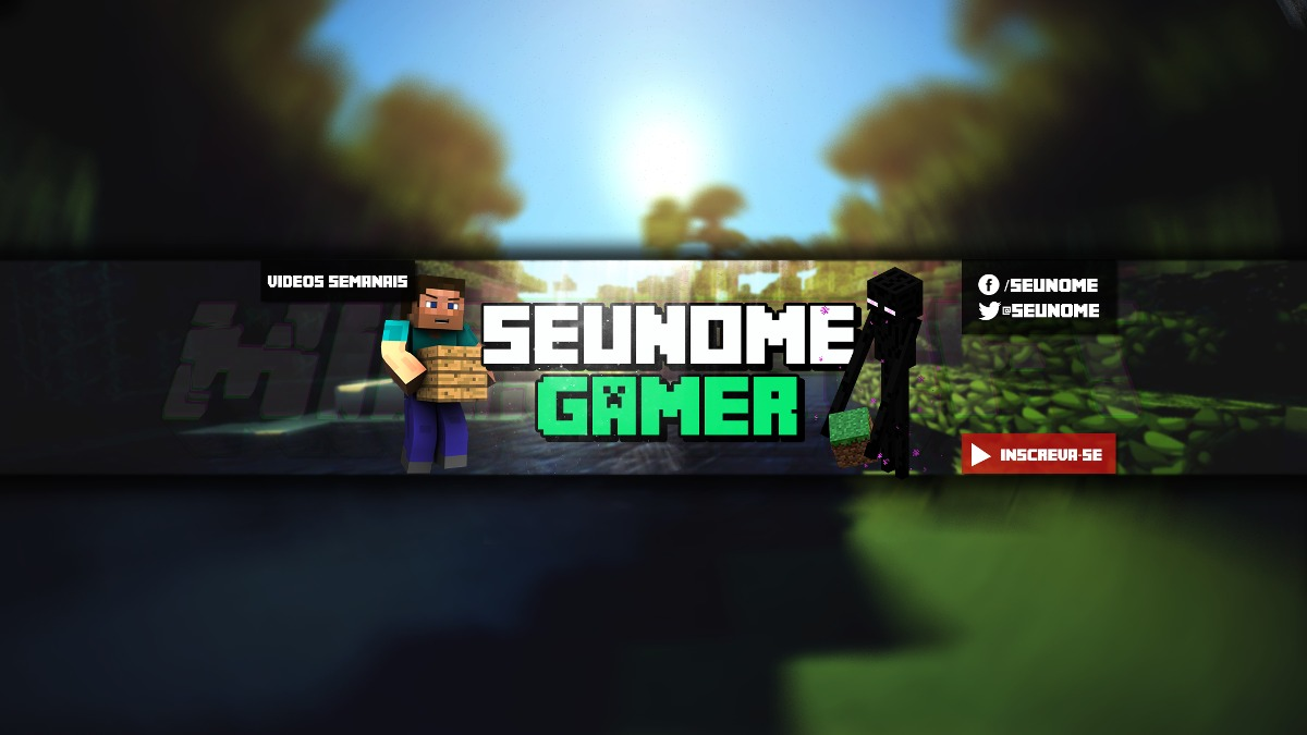 Banner Para Minecraft Entre Outro Jogo E Rede Sociais 2d