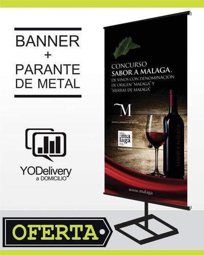 banner publicitario en parante de metal