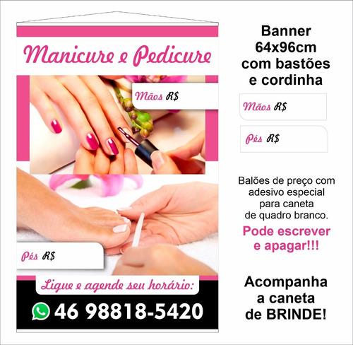banner salão manicure pedicure - tamanho 64x96cm