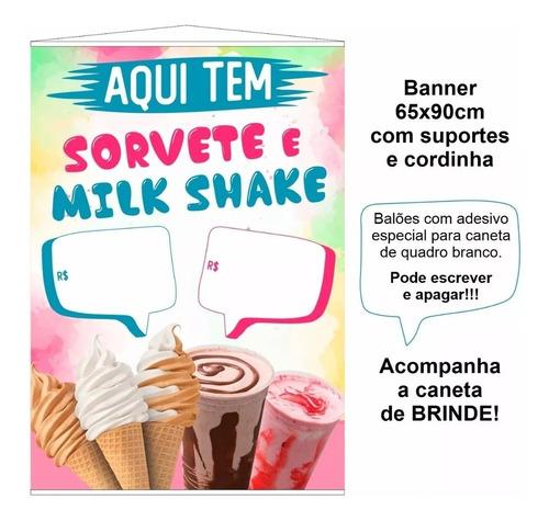 banner sorveteria picolé e milk shake - tamanho 65x90cm