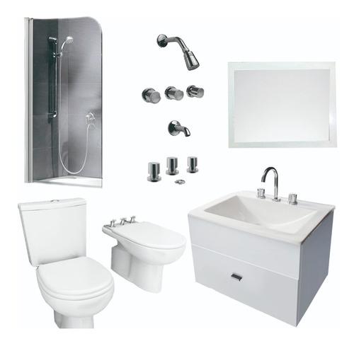 baño basico mampara inodoro pringles espejo y vanitory 50cm