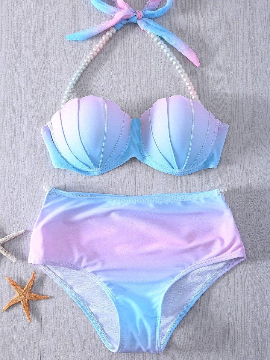 150f7a75b Traje Baño Bikini Cintura Alta Retro Sirena Concha Perla -   470.00 ...