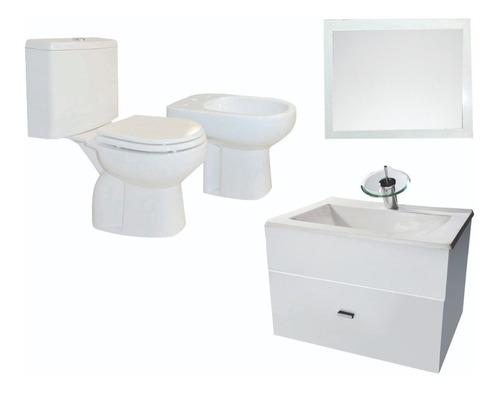 baño completo inodoro vanitory 60cm griferia cascada- cuotas