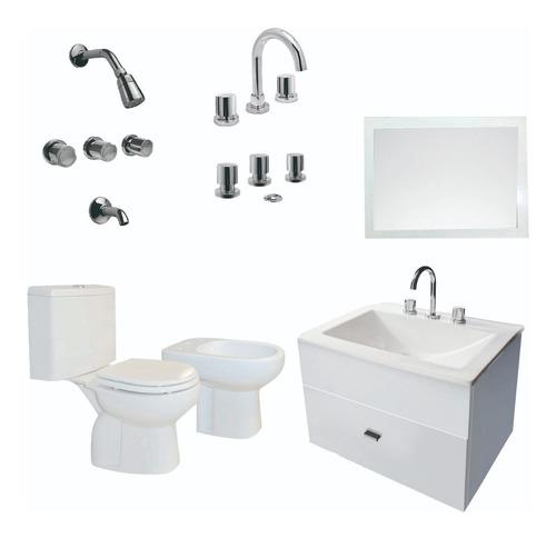 baño inodoro vanitory colgante 60cm bidet espejo y g- cuotas