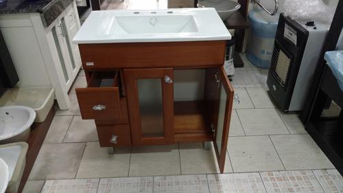 baño vanitory lujo 75 cm cedro + bacha pringles