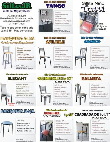 banqueta alta silla desayunador de caño reforzada - tarjeta