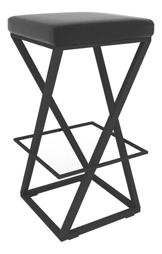 banqueta bistrô 34x34 cm estofada em aço preto