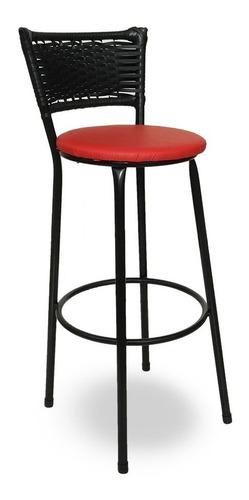 banqueta bistrô hawaii rattan junco preto e assento vermelho