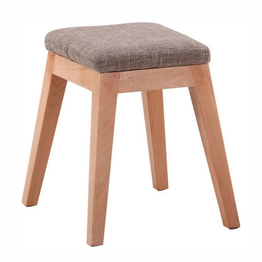 Banqueta de madera y tela beige asiento acolchonado u s for Banquetas de madera
