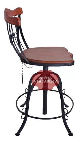 banqueta ferro e madeira rustica oferta