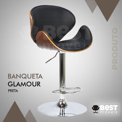 banqueta glamour de luxo madeira mogno base disco promoção