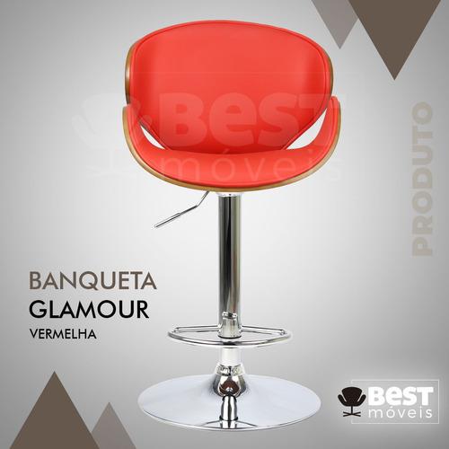 banqueta glamour luxo madeira mogno base disco 12x s/ juros
