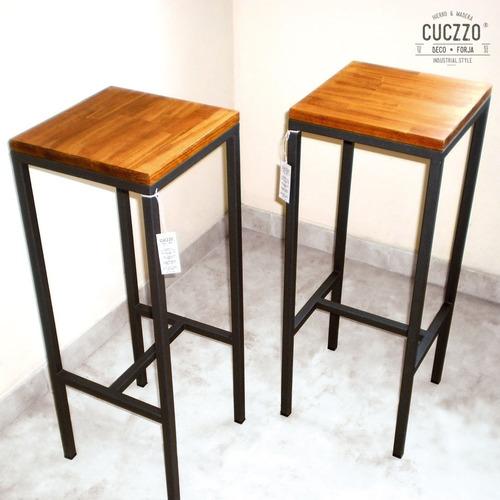 banqueta hierro y madera / estilo industrial