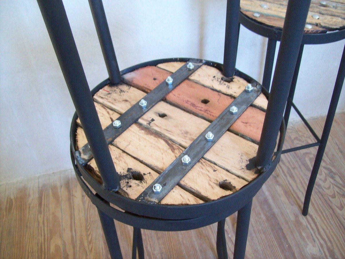 Banqueta para barra alto de madera pique y hierro nuevos for Banquitas de madera para jardin
