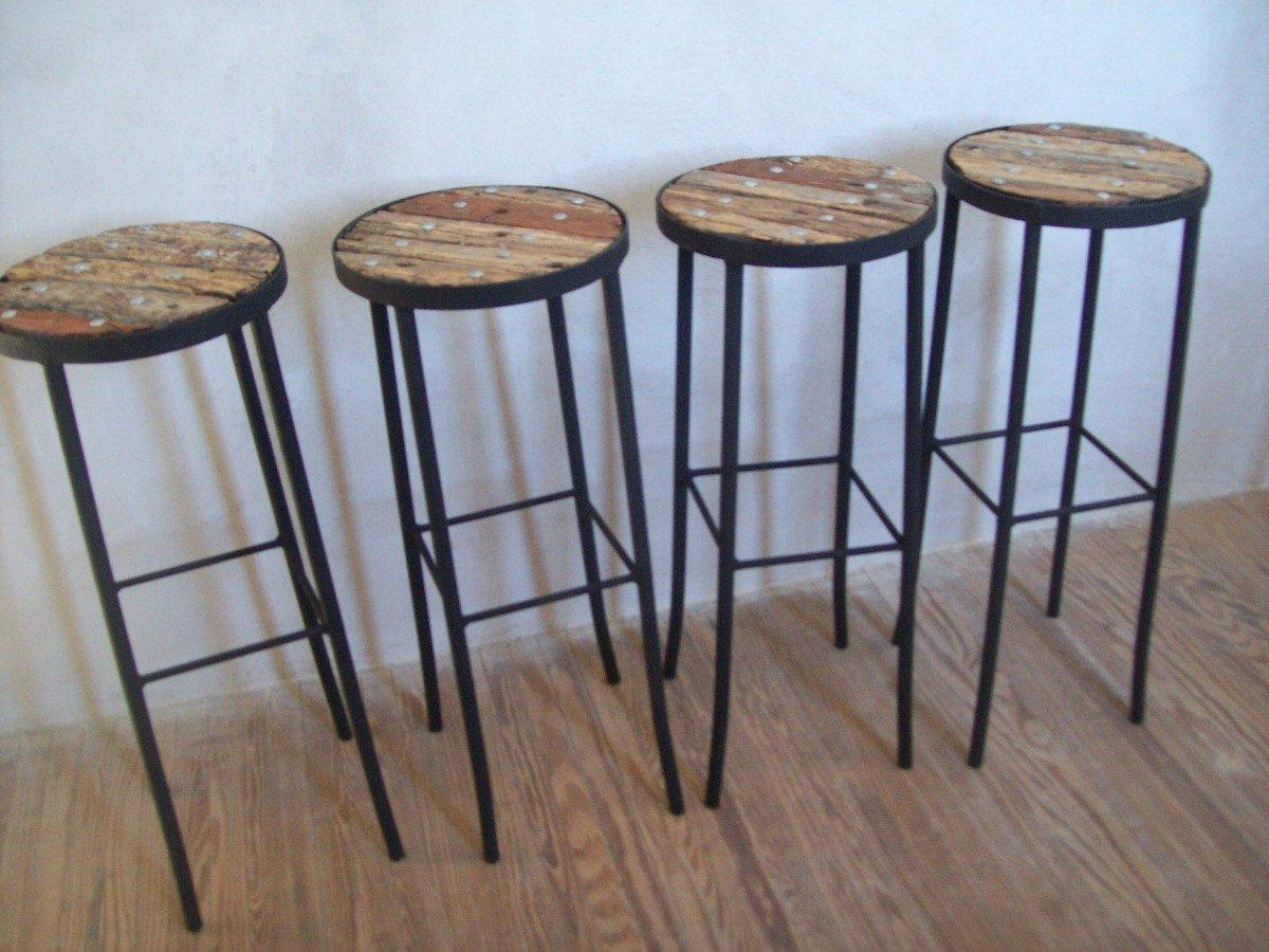 Banqueta para barra alto de madera pique y hierro nuevos for Banquetas de madera
