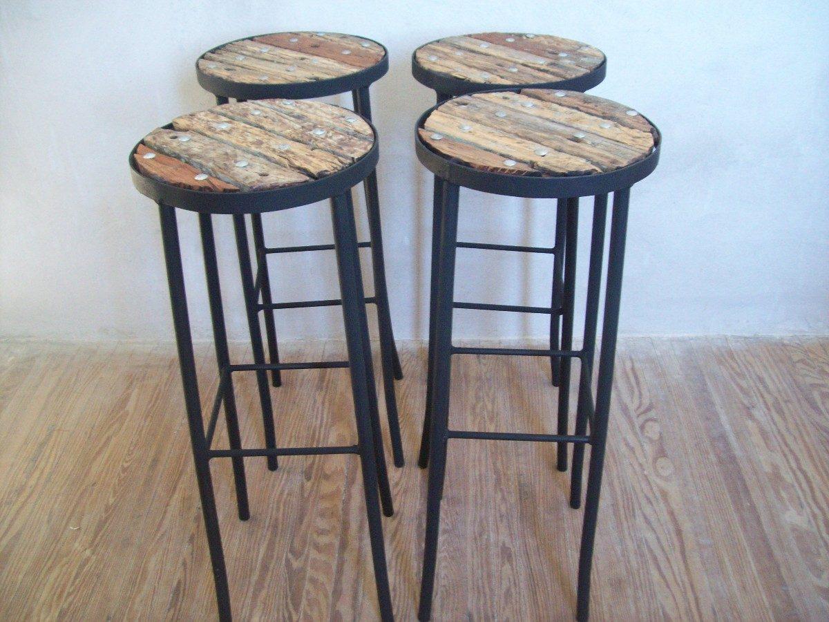Banqueta para barra alto de madera pique y hierro nuevos for Butacas para barras en madera