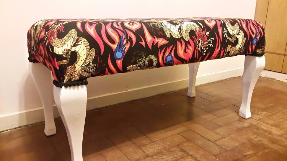 Banqueta / pie de cama tapizada tela. diseño exclusivo    1.399 ...