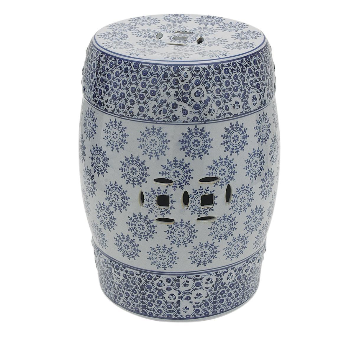 Banqueta Sit Garden De Ceramica Branco Com Azul   R$ 547,99 Em Mercado Livre