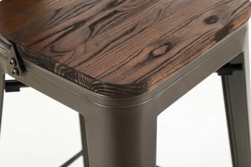banqueta taburete tolix respaldo alto y madera