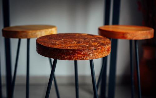 banquetas hierro madera moderna altas industrial tapa 30cm
