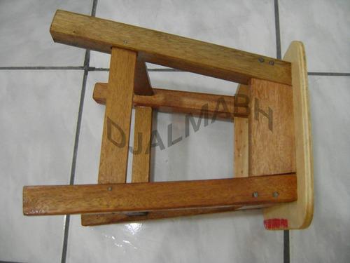 banquinho tamborete de madeira mista maciça