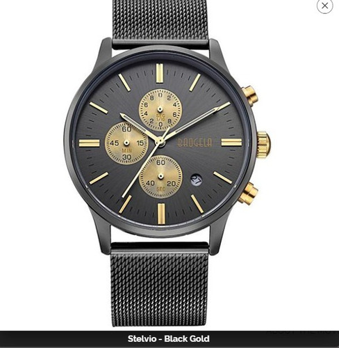 baogela hombre negro oro reloj cronógrafo acero inoxidable